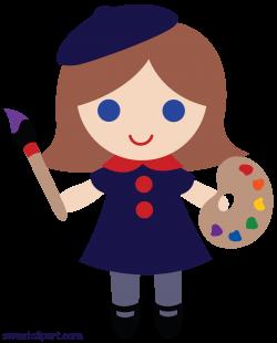 Little Artist Girl Clip Art - Sweet Clip Art