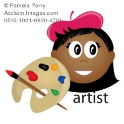 Clip Art Illustration of an Ethnic Female Artist Occupation Icon