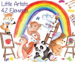Watercolor animals clipart: