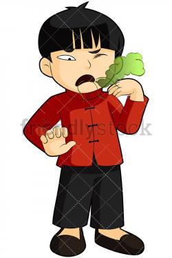Asian Boy With Bad Morning Breath Vector Cartoon Clipart