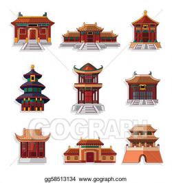 EPS Vector - Cartoon chinese house icon set. Stock Clipart ...