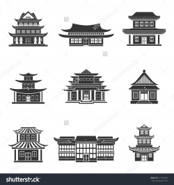 Chinese house ancient temples traditional oriental buildings black ...