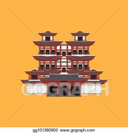EPS Vector - Flat building of republic of singapore, travel icon ...