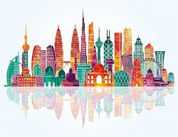 Asian Landmarks Background Template Vector Material, Asia, Landmark ...