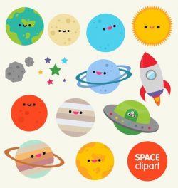 Space clipart commercial use, digital planet graphics- cartoon ...