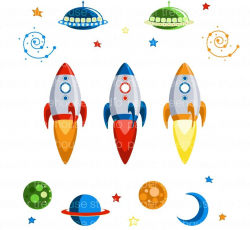 Outer Space Rocket Ships, UFOs, Planets, Galaxy Swirls, Moon and ...