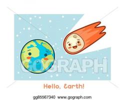 Vector Art - Hello, earth. kawaii space funny card. doodles with ...