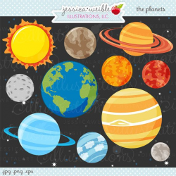 The Planets Cute Digital Clipart - Commercial Use OK - Space Clipart ...