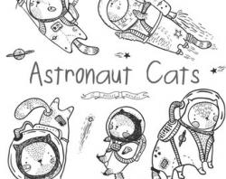 Hand Drawn Cute Astronaut Cat Clipart Space Clip Art Kitten