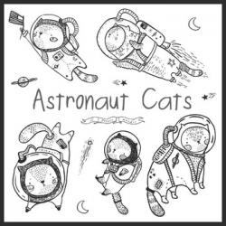 Cat Astronaut Clip Art, Astronaut Clipart, Space Clip Art, Astronomy
