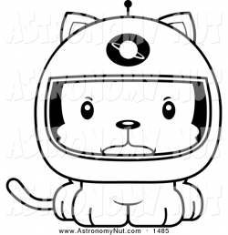 Clipart of a Cartoon Lineart Cute Mad Kitten Cat Astronaut by Cory ...