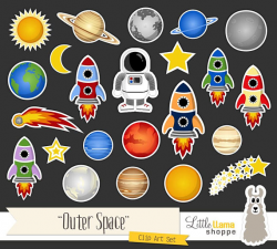 Space Clip Art, Cosmic Astronomy Planets Rockets Astronaut Sun Moon ...