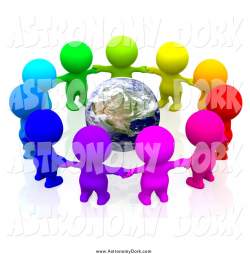 Clip Art of a 3d Colorful People Holding Hands in a Circle Around ...