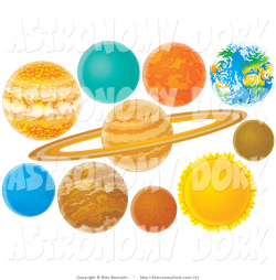Clip Art of Colorful Planets of the Solar System on White by Alex ...