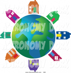 Clip Art of Colorful Houses Around a Globe by Prawny - #998