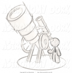 Clip Art of a Sketched Gray Design Mascot Man Looking Through a Huge ...