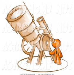 Clipart of an Orange Man Looking Through a Huge Wooden Telescope up ...