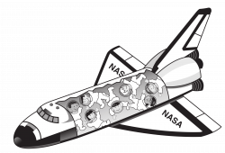Clipart - Space shuttle with kids floating inside it