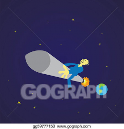 Clipart - Space travel on a rocket. Stock Illustration gg59777153 ...