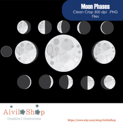 New Store!!! MOON PHASE CLIPART Sky Moon Space Universe Astronomy ...