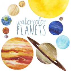 Watercolor Planets Clip Art set, Solar System, Science Clip Art ...