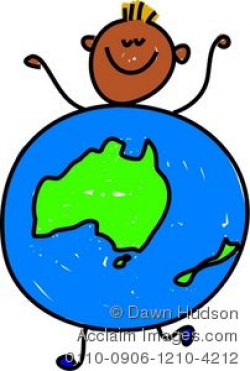 Clipart Illustration of a Little Boy Dressed up As a Globe of Australia