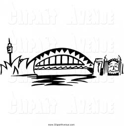 Avenue Clipart of Black and White Arched Sydney Harbour Bridge ...