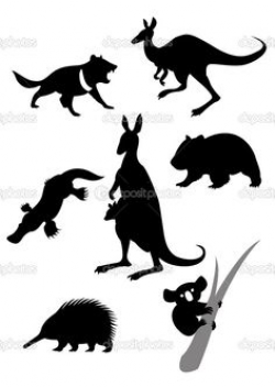 Australian animals in silhouette including a wombat, kiwi, tasmanian ...