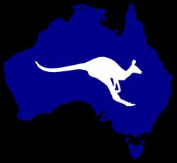 Australia Silhouette with Kangaroo - Rooweb Clipart