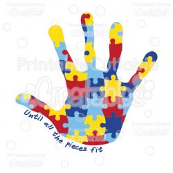 Autism Awareness Puzzle Handprint SVG Cut Files & Clipart