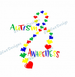 Autism Awareness Puzzle Ribbon Svg file SVG Dxf Eps Png Printable ...