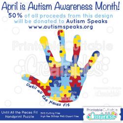 Autism Awareness Puzzle Handprint SVG Cut File & Clipart E114 ...