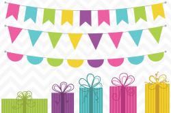 Clip Art Birthday Presents and Bunting by Sonya DeHart Design ...