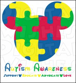 Autism Awareness Mickey Mouse head ears Digital Iron on
