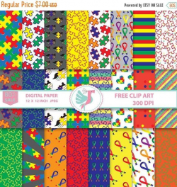 ON SALE Autism Awareness Ribbon Clipart, Autistic Cancer Digital ...
