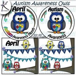 Autism Awareness Owls Digital Clip Art INSTANT DOWNLOAD Printable ...