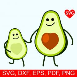 Adorable Avocado Kid and Mom SVG File, cute Avocado Mom and Avocado ...