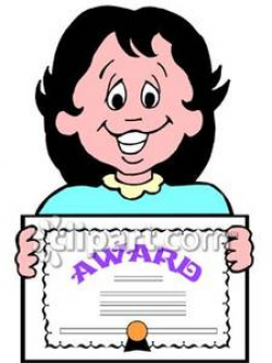 Girl Holding an Award Certificate - Royalty Free Clipart Picture