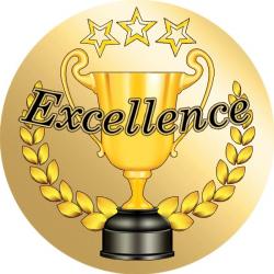 72 Gold Excellence Award Teacher Reward Stickers - Large - Sticker ...