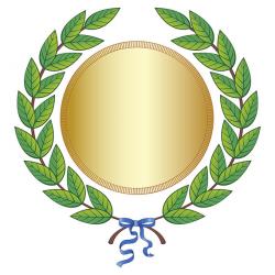 Digital Clipart Green Leaf Laurel Wreath Gold Medal Blue Silk