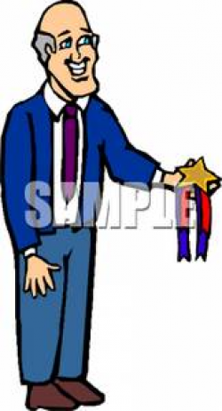 A Colorful Cartoon of a Principal Holding an Award - Royalty Free ...