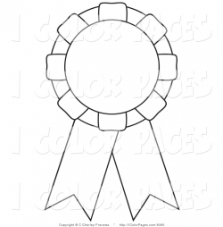 1st Place Ribbon Black And White Clipart