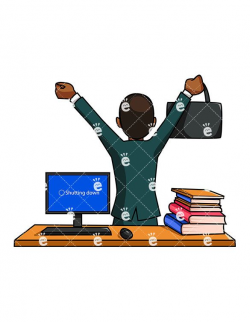 A Black Businessman Walking Away From His Desk And Cheering ...