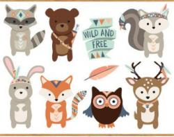 Tribal Animal Faces Clipart - Cute Clip Art, Woodland Clipart ...