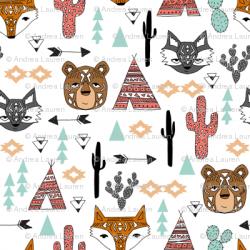 southwest animals // cactus tipi baby fox southwest nursery mint ...