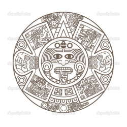 28+ Collection of Aztec Calendar Drawing Easy | High quality, free ...