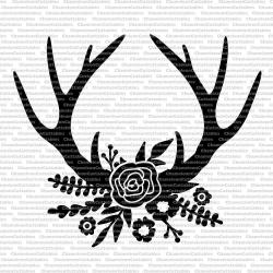 floral antlers black, svg, cut, file, rustic, flowers, deer, fall ...