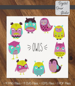 Owls Clip Art - 9 colorful Owls Hand Drawn Vector - Birds Doodle ...