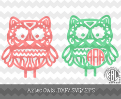 Monogram Aztec Owls Files .DXF/.SVG/.EPS Files for use with your ...