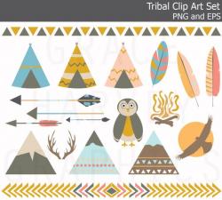 Tribal Teepee Mountain Owl Arrow Feather Clip Art EPS PNG